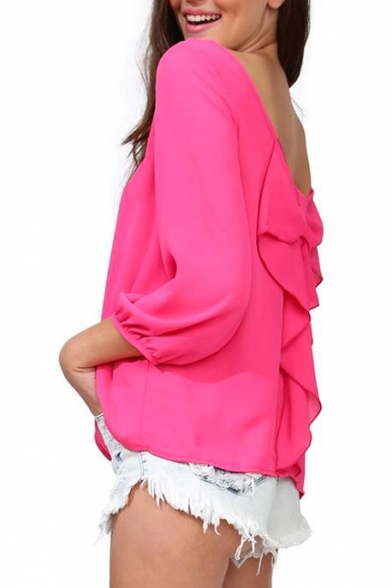 Plum 3/4 Sleeve Bow Back Chiffon Blouse