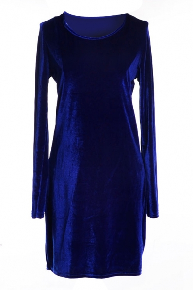 Royal Blue Long Sleeve Pleuche Slim Dress