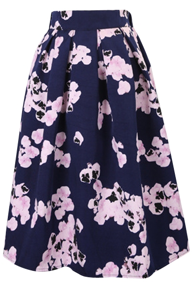 Vintage Floral Print High Waist Pleated Midi Skirt - Beautifulhalo.com