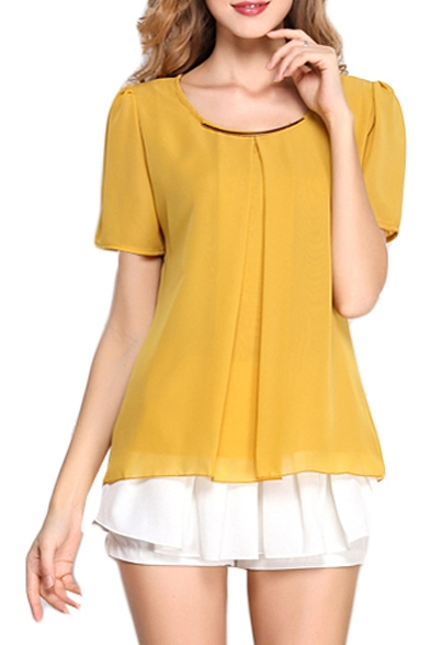Yellow Short Sleeve Pleated Front Chiffon Blouse - Beautifulhalo.com