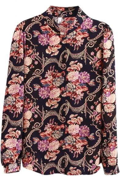 Full of Floral Print Lapel Long Sleeve Vintage Shirt
