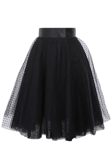 Mesh Polka Dot Layered A-Line Midi Skirt