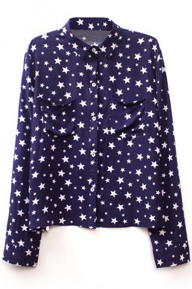 Navy Long Sleeve Stars Print Pockets Chiffon Blouse