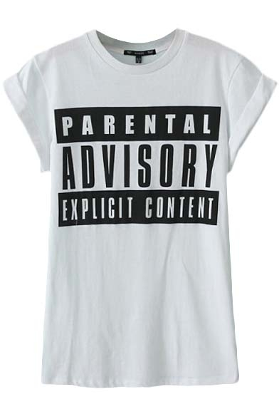 White Letter Print Short  Sleeve Round Neck Tee