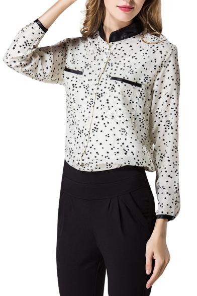White Long Star Print Stand Collar Black Trim Shirt