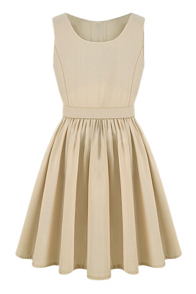 Apricot Round Neck Sleeveless Cutout Dress
