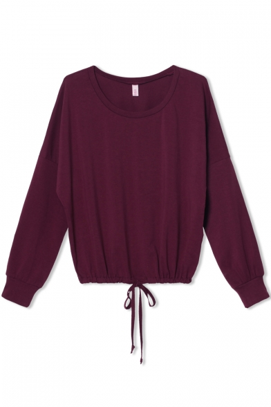 Burgundy Long Sleeve Drawstring Waist T-Shirt - Beautifulhalo.com