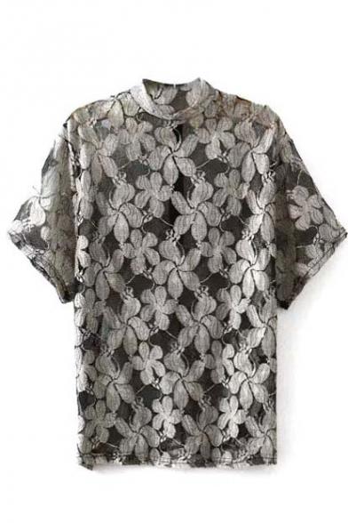 Gray Semi High Neck Sheer Mesh Floral Top