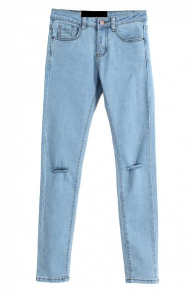 Light Wash Blue Zipper Fly Fitted Open Knees Pencil Jeans