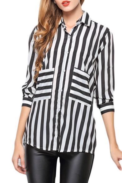 Mono Striped Pocket Long Sleeve Chiffon Shirt