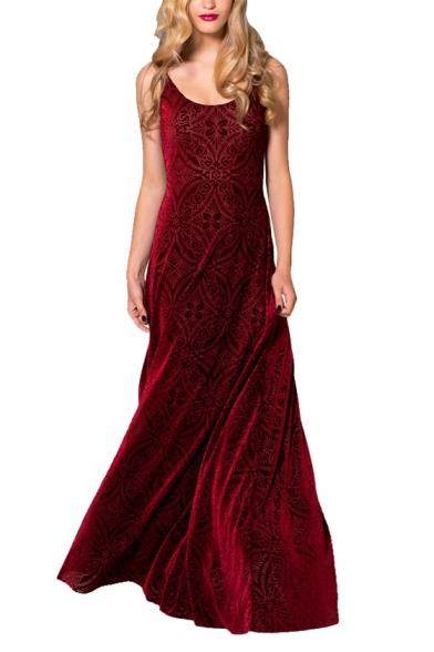 Red Geometric Pattern Maxi A Line Tank Velvet Dress