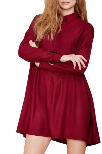 Red High Waist Long Sleeve Pleated Shirt Dress