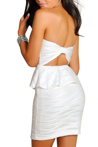 d7efc9757c6 White Plain Ruffle Hem Off Shoulder Fitted Dress - Beautifulhalo.com
