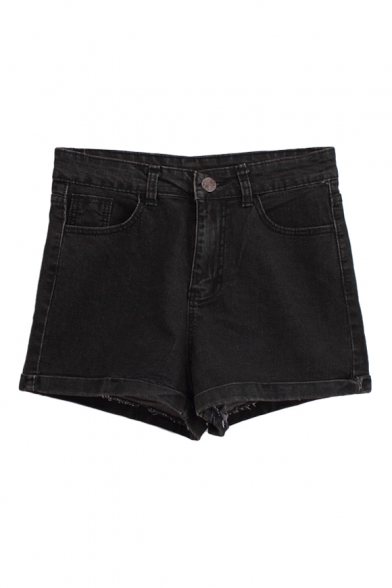 Black Denim Dark Wash High Waist Fitted Shorts - Beautifulhalo.com