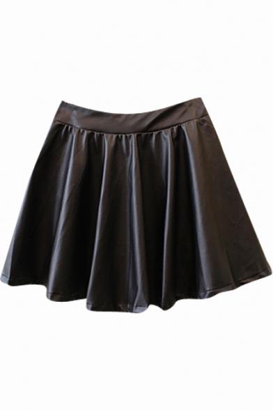 Black Gathered Waist Pleated PU Elastic Waist Skirt