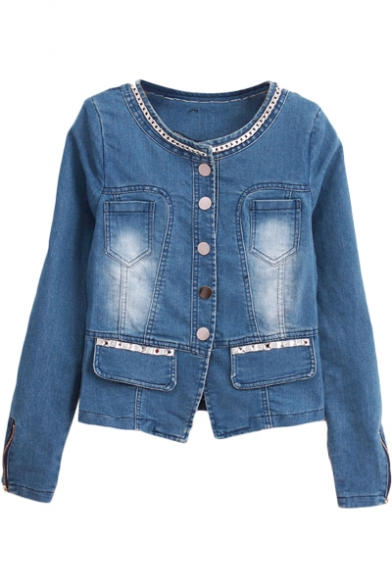 Blue Denim Necklace Round Neck Long Sleeve Fitted Jacket