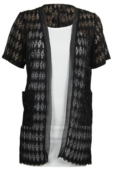 Lace Crochet Short Sleeve Cutout Tunic Cardigan - Beautifulhalo.com