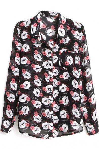 Mouth Print Long Sleeve Pocket Chiffon Shirt