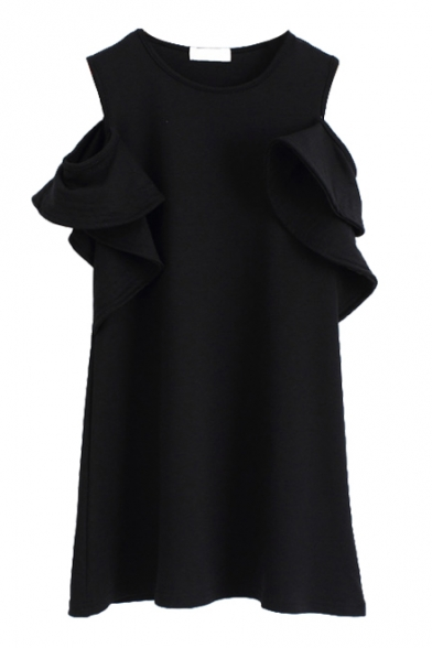 Ruffle Cold Shoulder Round Neck Mini Plain Column Dress