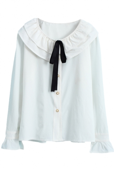 Sweet White Ruffle Collar Bow Long Sleeve Blouse