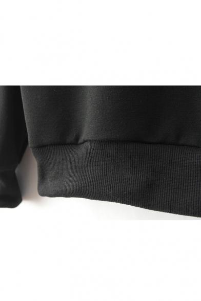 Black Letter Meow Print Round Neck Sweatshirt