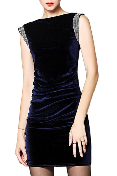 Blue Boat Neck Sleeveless Flannel Dress