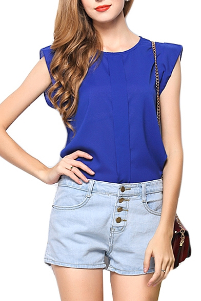 Blue Plain Cap Sleeve Cutout Back Chiffon Blouse