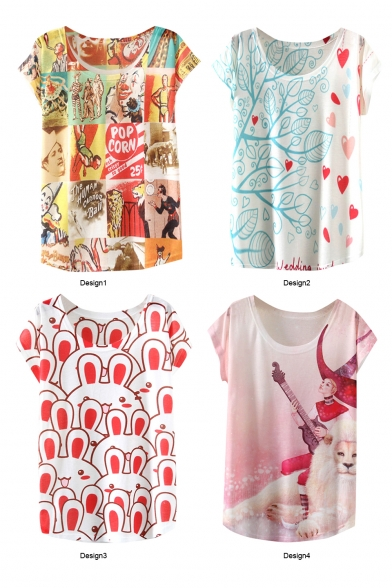 Cartoon Character Heart Rabbit Lion Print T-Shirt
