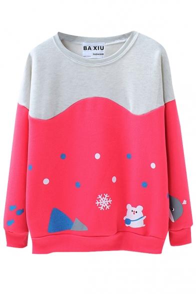 Color Block Bear Snowflake Print Polka Dot Round Neck Sweatshirt