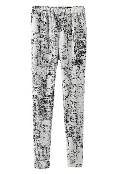 Ink Wash Print Elastic Waist Pencil Casual Pants