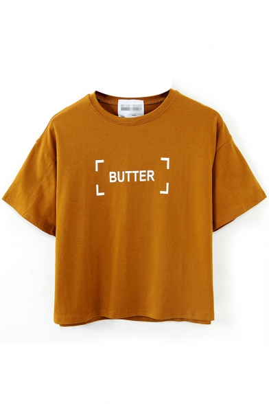 Letter Butter Print Short Sleeve Round Neck Tee