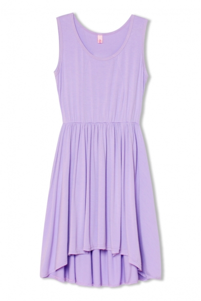 Light Purple Plain Round Neck Ruffle Hem Tank Dress ...