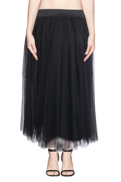 Plain Mesh High Waist Layers Maxi Skirt