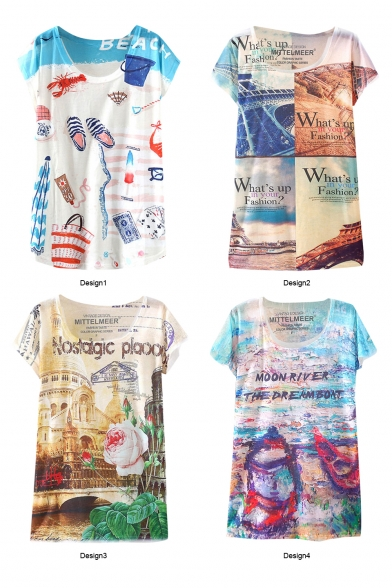 Sandy Beach Letter Floral Print T-Shirt in Loose Fit