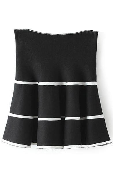 Stripe Print High Waist Ruffle Hem Full Skirt