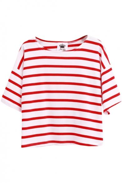 1/2 Batwing Sleeve Asymmetric Stripe Pattern T-Shirt