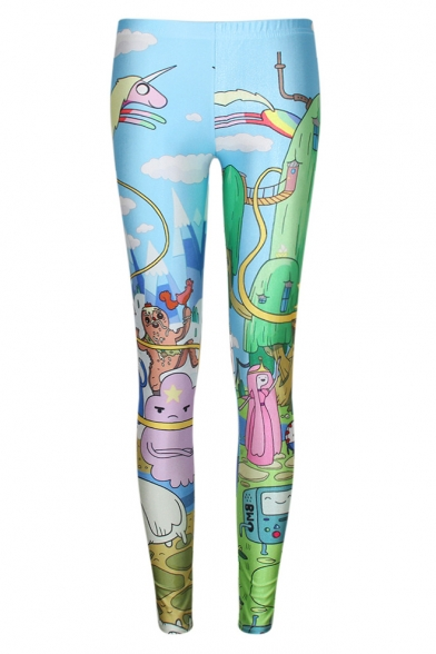 Adventure Time Theme Print Fitted Skinny Leggings