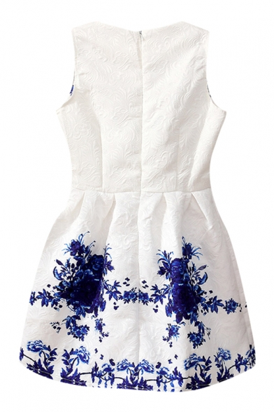 485ebf734dd ... Blue and White Porcelain Flower Print White Tanks Dress ...