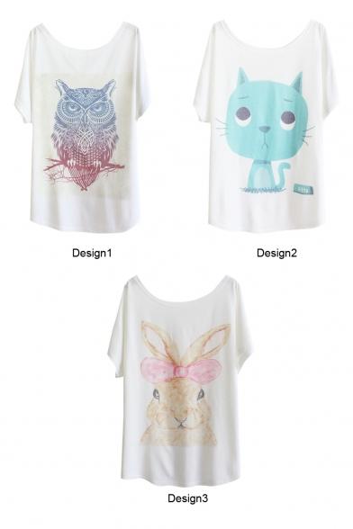 Owl&Cat&Rabbit Print White Tee