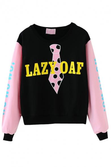 Pink Sleeve Cute Letter Print Crop Sweatshirt