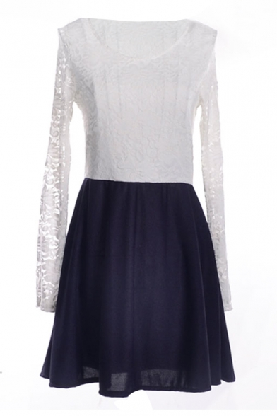 White Lace Top&Dark Blue Skirt Long Sleeve Dress