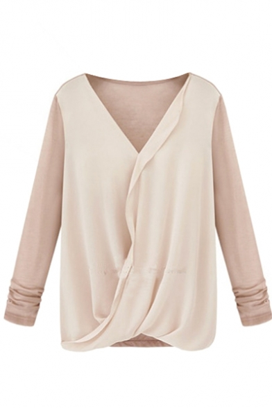 Beige&Pink Panel V-Neck Chiffon Blouse