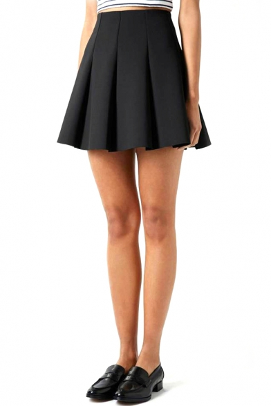 Black High Waisted Pleated Skirt - Redskirtz