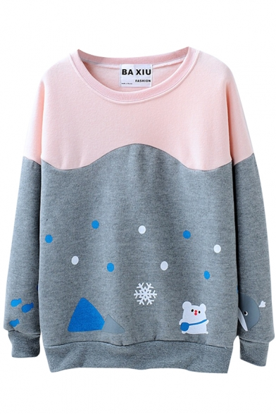 Color Block Bear Snowflake Print Polka Dot Round Neck Sweatshirt
