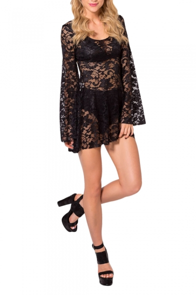 Lace Cutwork Flare Sleeve Sexy Mini Loose Cover Up