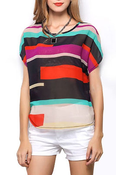 Multi Color Stripe Panel Short Sleeve Chiffon Blouse ...