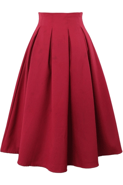 Plain Chiffon High Waist Pleated Midi Skirt - Beautifulhalo.com