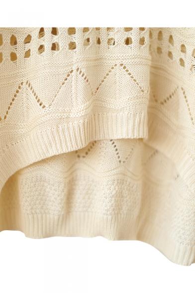 Plain Geometry Cutout Detail Round Neck Knitting Loose Sweater