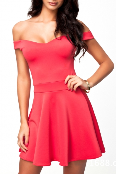 Plain V-Neck Cap Sleeve Ruffle Hem Dress