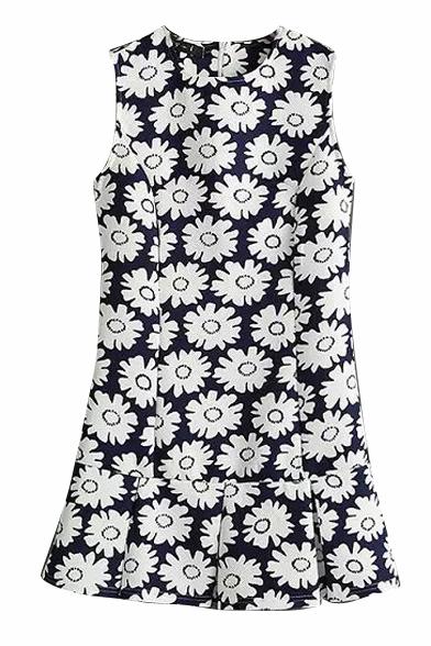 All Over White Daisy Print Dark Blue Background Sleeveless Pleated Hem Dress